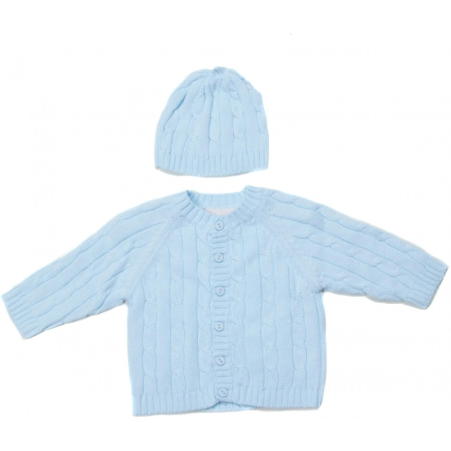 Elegant Baby Cable Knit Sweater Box Set 12 Months - Blue