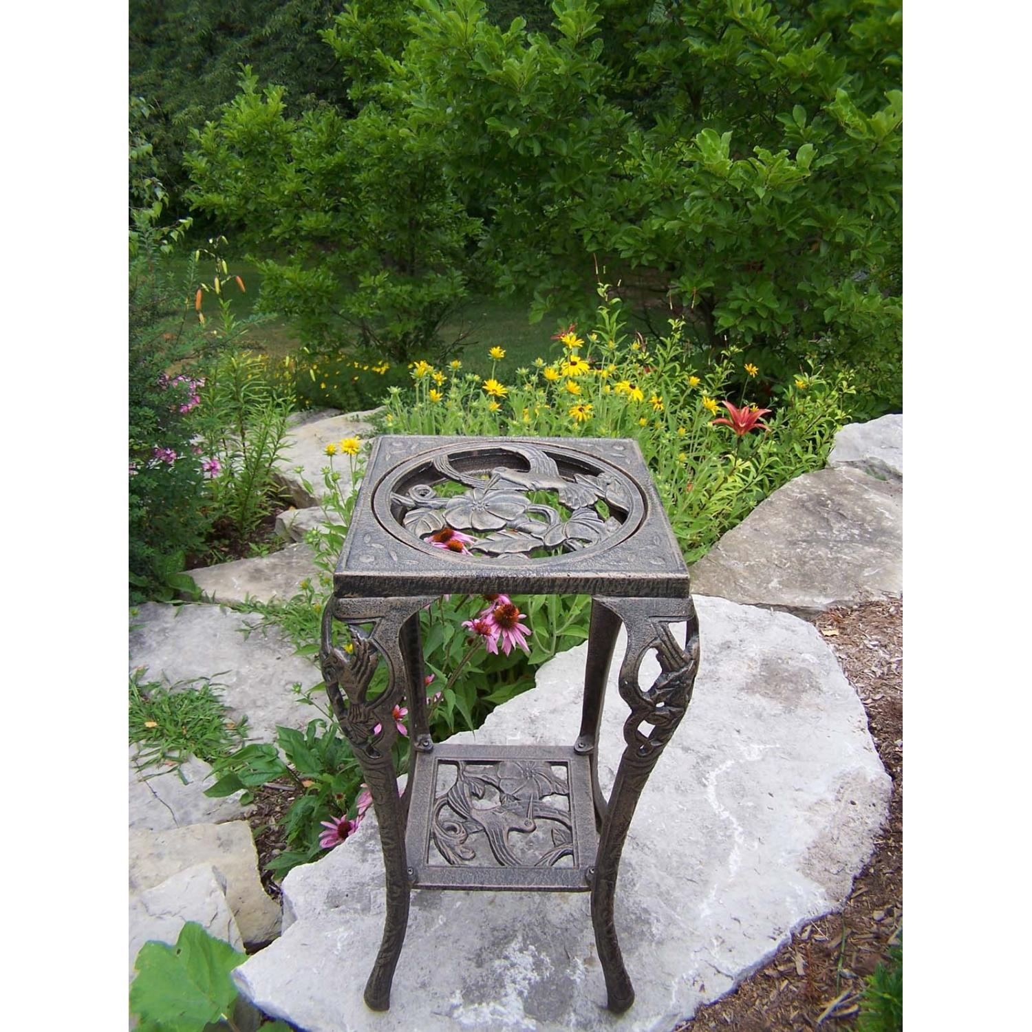Oakland Living Hummingbird Table Plant Stand - Antique Bronze