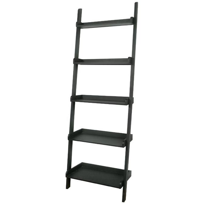International Concepts Dining Essentials 5 Tier Leaning Shelf - Solid Wood - Black - SH67-2660