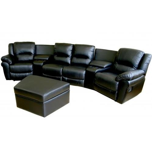 Taren Leather Curved 7-pcs Home Theater Sectional In Black