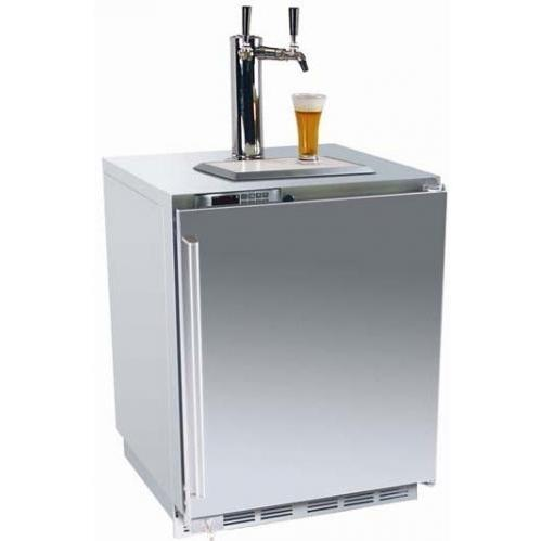 Perlick HP24TS-2L2 5.3 Cu. Ft. Capacity Built In Dual Tap Kegerator / Refrigerator - Integrated Custom Panel Door / Stainless Steel Cabinet